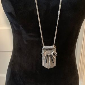White House Black Market Jewelry - Whbm long silver tassel pendant necklace